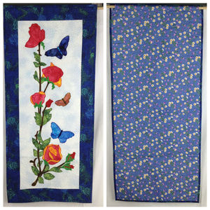 Butterflies & Roses, handmade quilted wall hanging